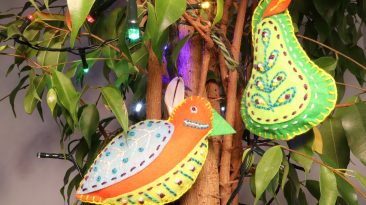 Partridge and Pear Felt Decorations