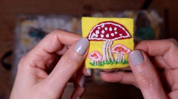 Felt twinchie featuring a mushroom