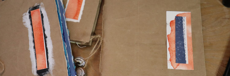 sketchbook cover from paper bag